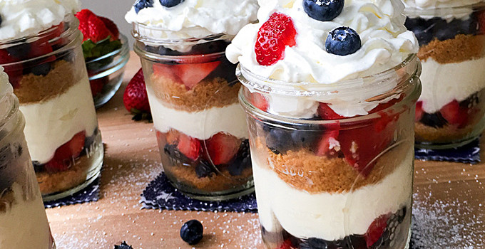 No Bake Berry Cheesecake Trifle from Amanda's Cookin'