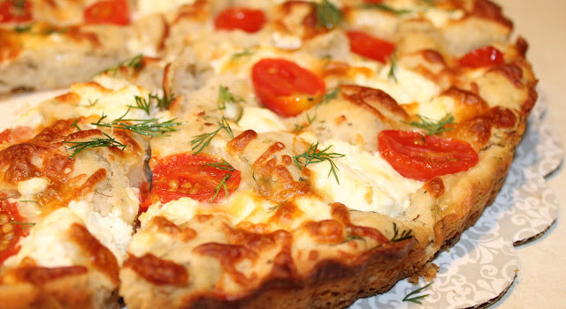Goat Cheese, Tomato & Dill Focaccia from Tattooed Foodie