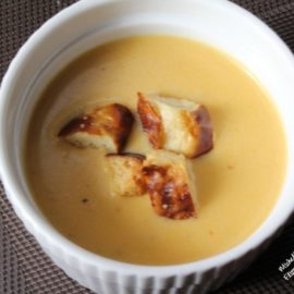 Beer Cheese Soup with Pretzel Croutons by Flipped-Out Food