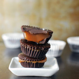 Dark Chocolate Salted Caramel Cups from Live-in Kitchen