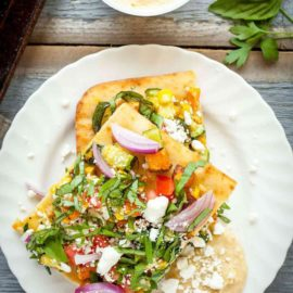 Rainbow Feta Flatbread from The Live-In Kitchen