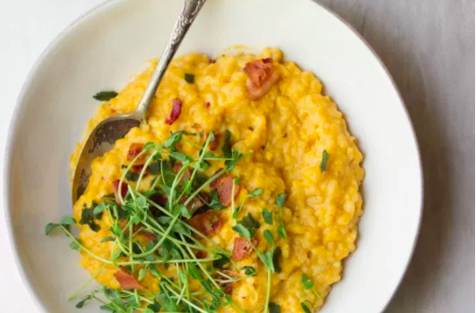 Butternut Squash, Bacon & Sage Risotto from The Gourmet RD